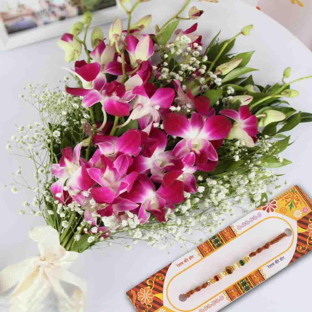 Charming Orchids Bouquet with Designer Rakhi