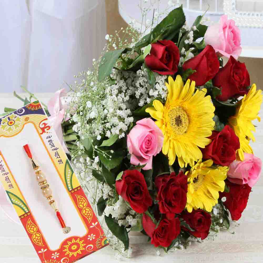 Attractive Rakhi with Mix Flowers Bouquet
