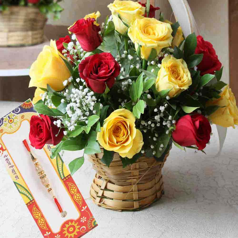 Alluring Rakhi with Mix Roses Arrangement