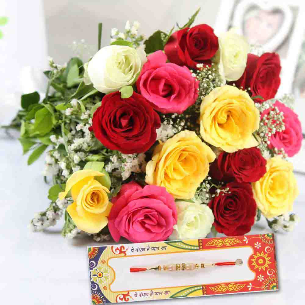 Fifteen Mix Roses with Designer Rakhi