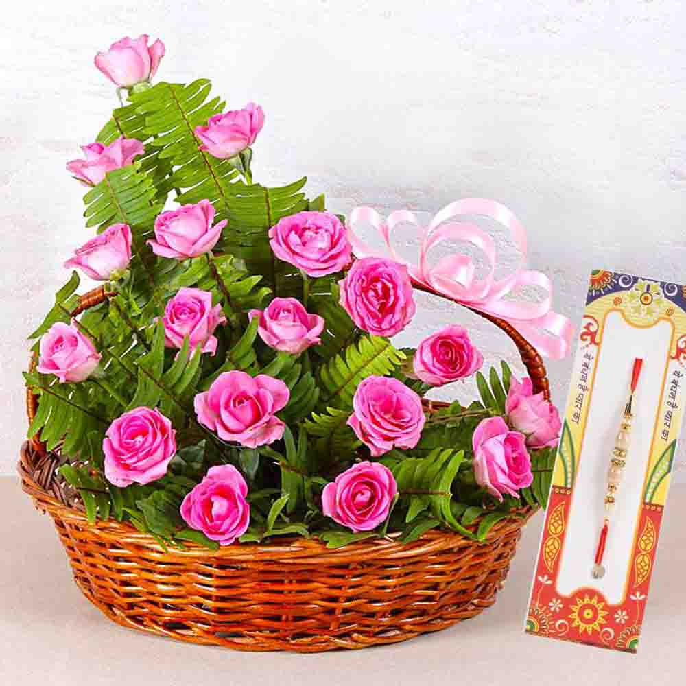 Pink Roses Basket with Rakhi