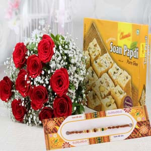 Mithai & Flowers-Rakhi with Red Roses Bouquet and Soan Papdi