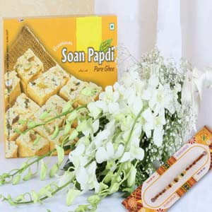 Mithai & Flowers-Soan Papdi with Orchids Bouquet and Rakhi
