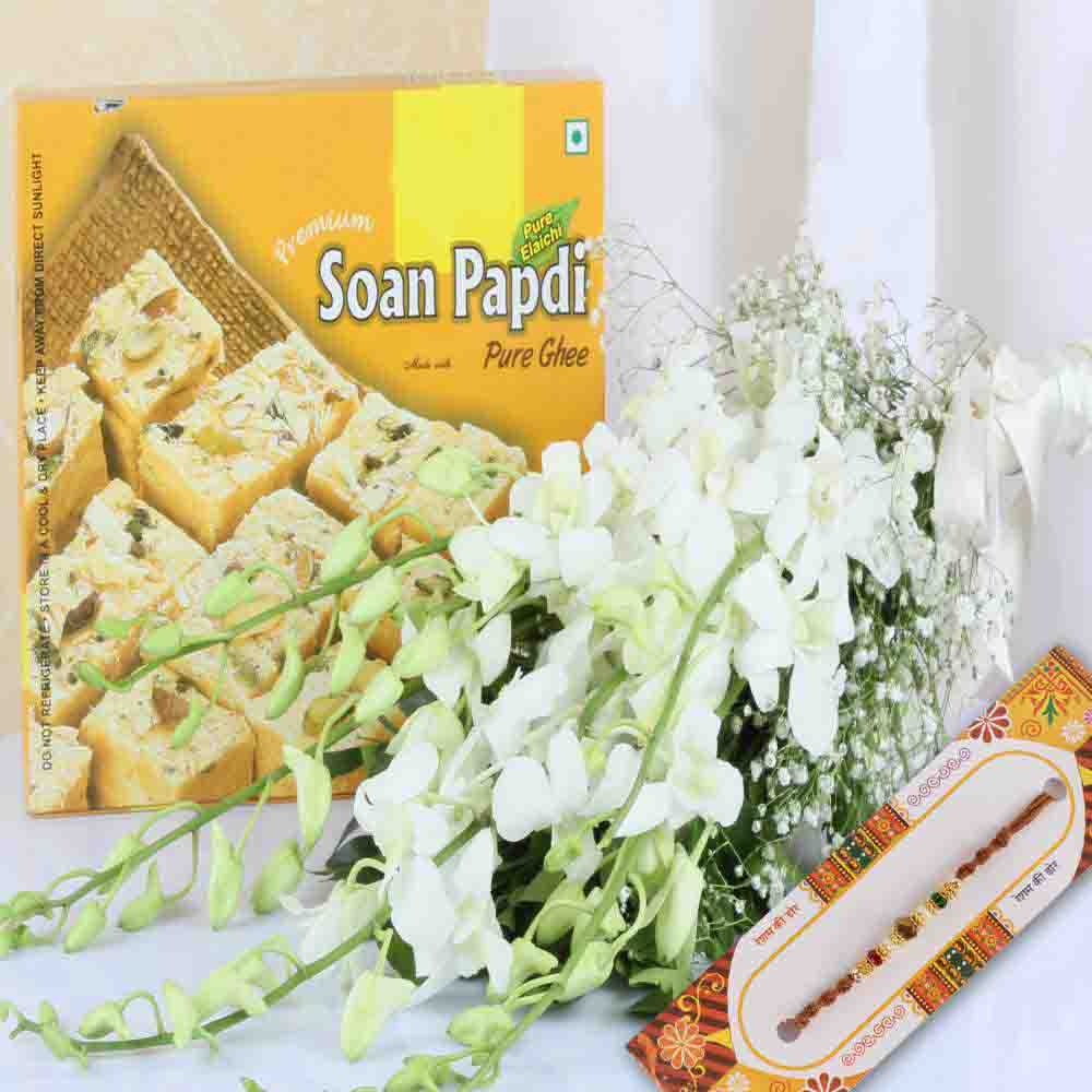 Soan Papdi with Orchids Bouquet and Rakhi