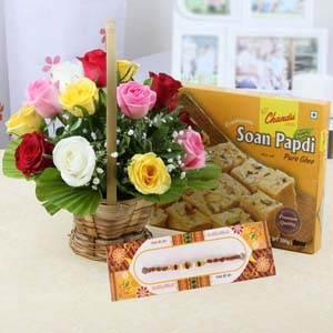 Mithai & Flowers-Mix Roses with Soan Papdi and Rakhi