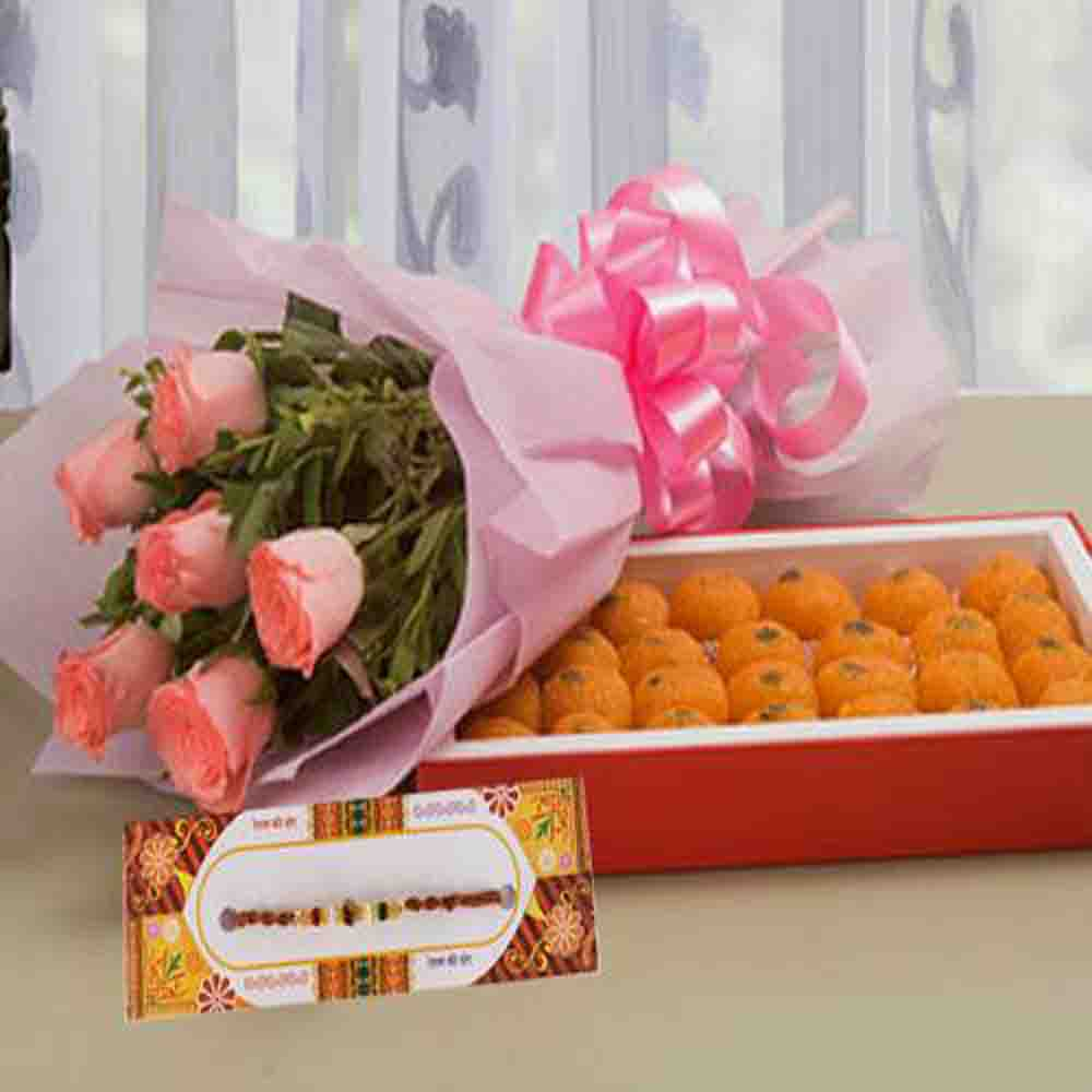Delicious Motichoor Ladoo with Roses Bouquet and Rakhi