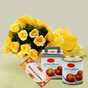 Mithai & Flowers-Yellow Roses with Gulab Jamun and Rakhi