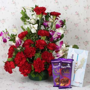 Chocolates & Flowers-Assorted Flowers Arrangement with Chocolate and Rakhi