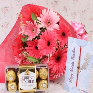 Chocolates & Flowers-Rakhi with Rocher Chocolate and Pink Gerberas Bunch