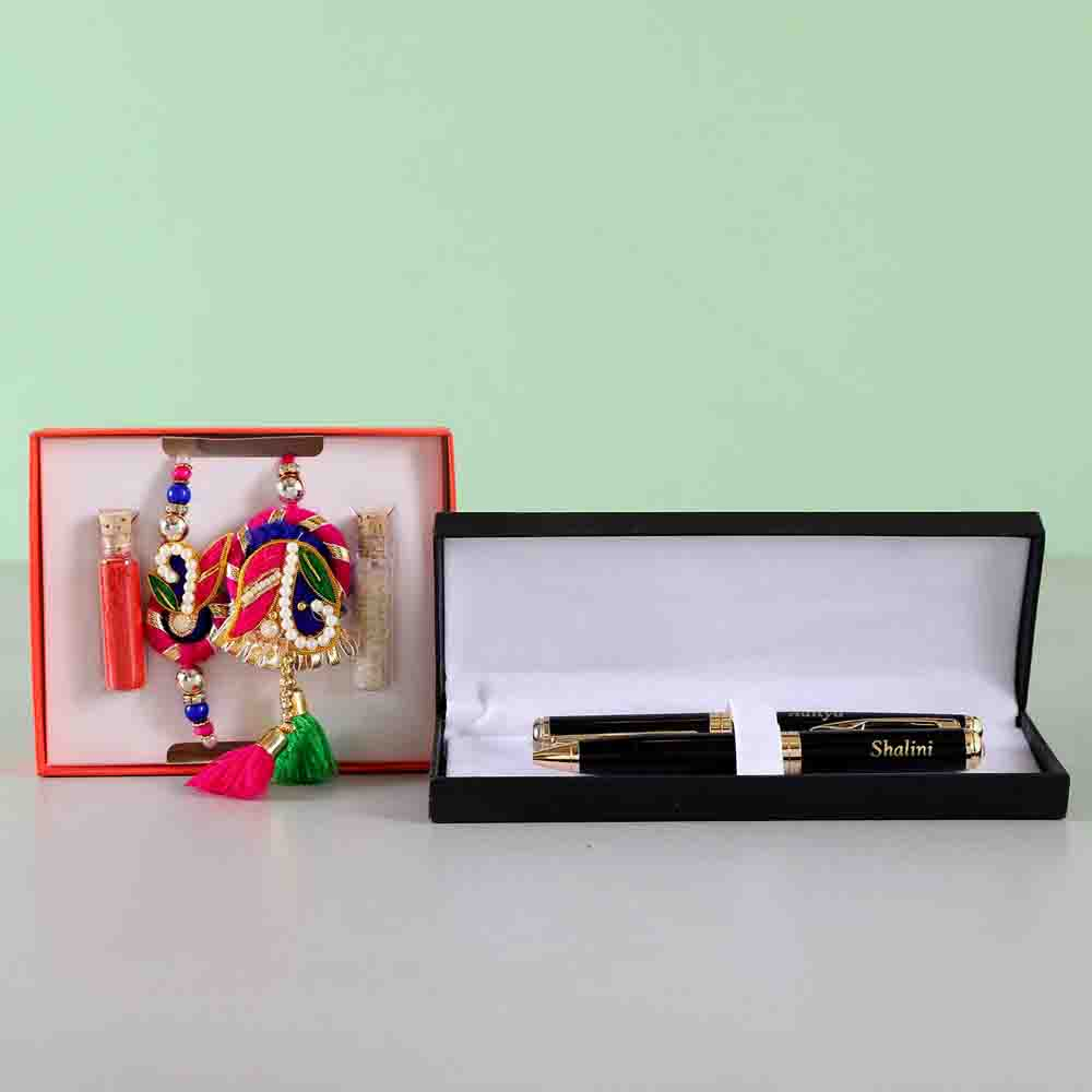 Bhaiya Bhabhi Zardosi Rakhi Set With Pen Combo
