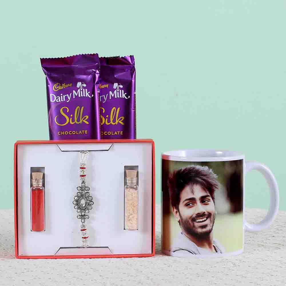 Personalised Mug With Chocolates & Rakhi