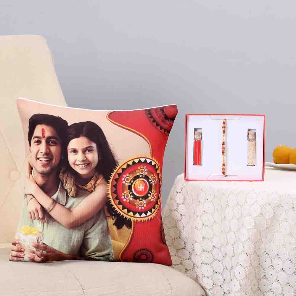 Thread Rakhi & Personalised Cushion Combo