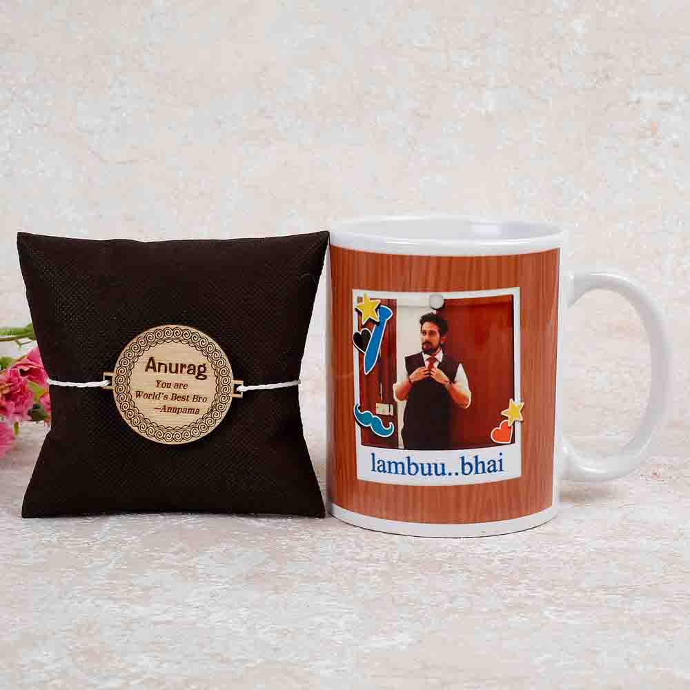 Personalised Ceramic Mug And Rakhi Combo