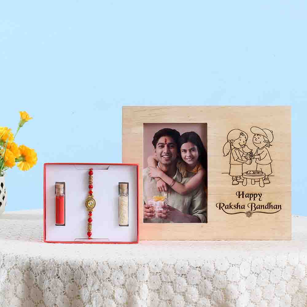 Kundan Rakhi & Wooden Photo Frame Combo