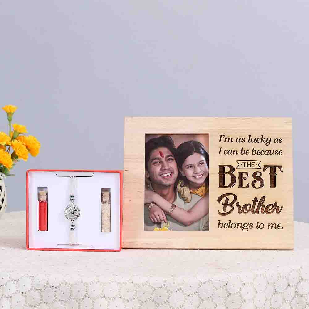 Om Rakhi & Wooden Photo Frame Combo