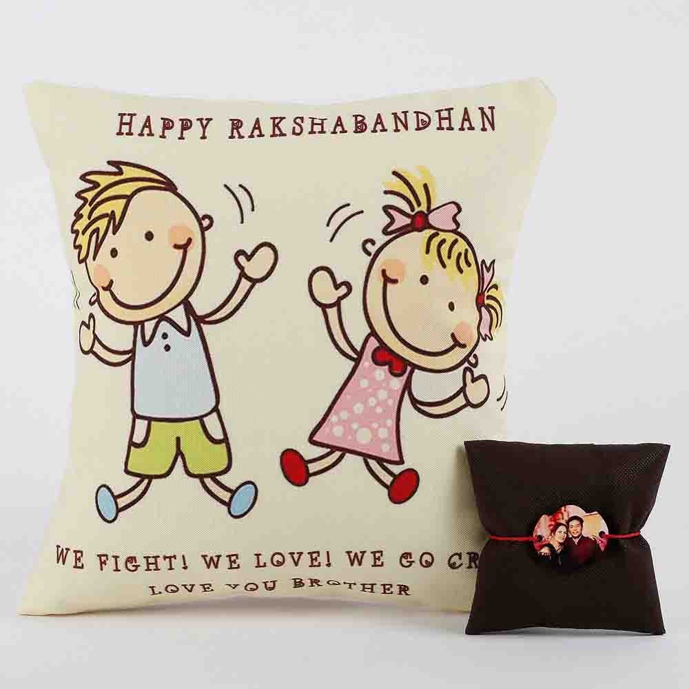 Personalized Rakhi Cushion Combo