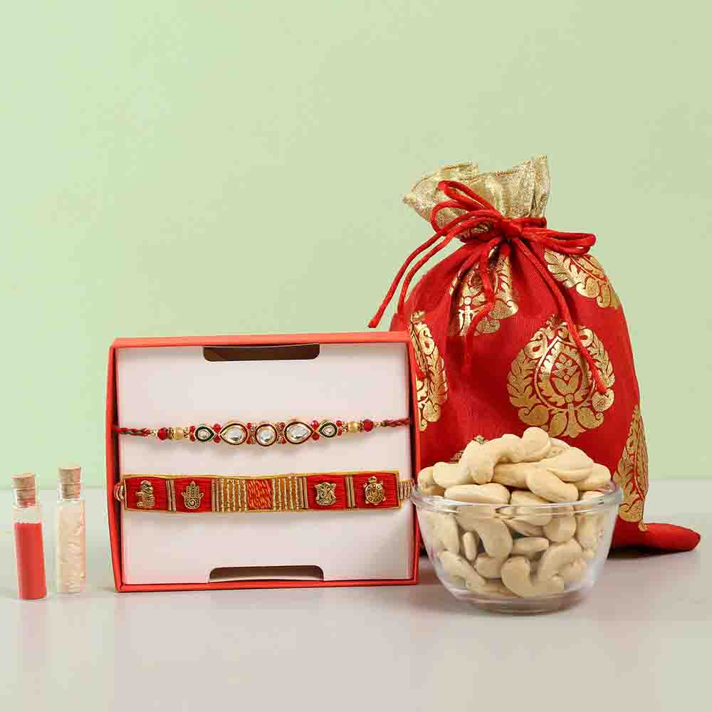 Feng Shui & Kundan Rakhi Combo With Cashews