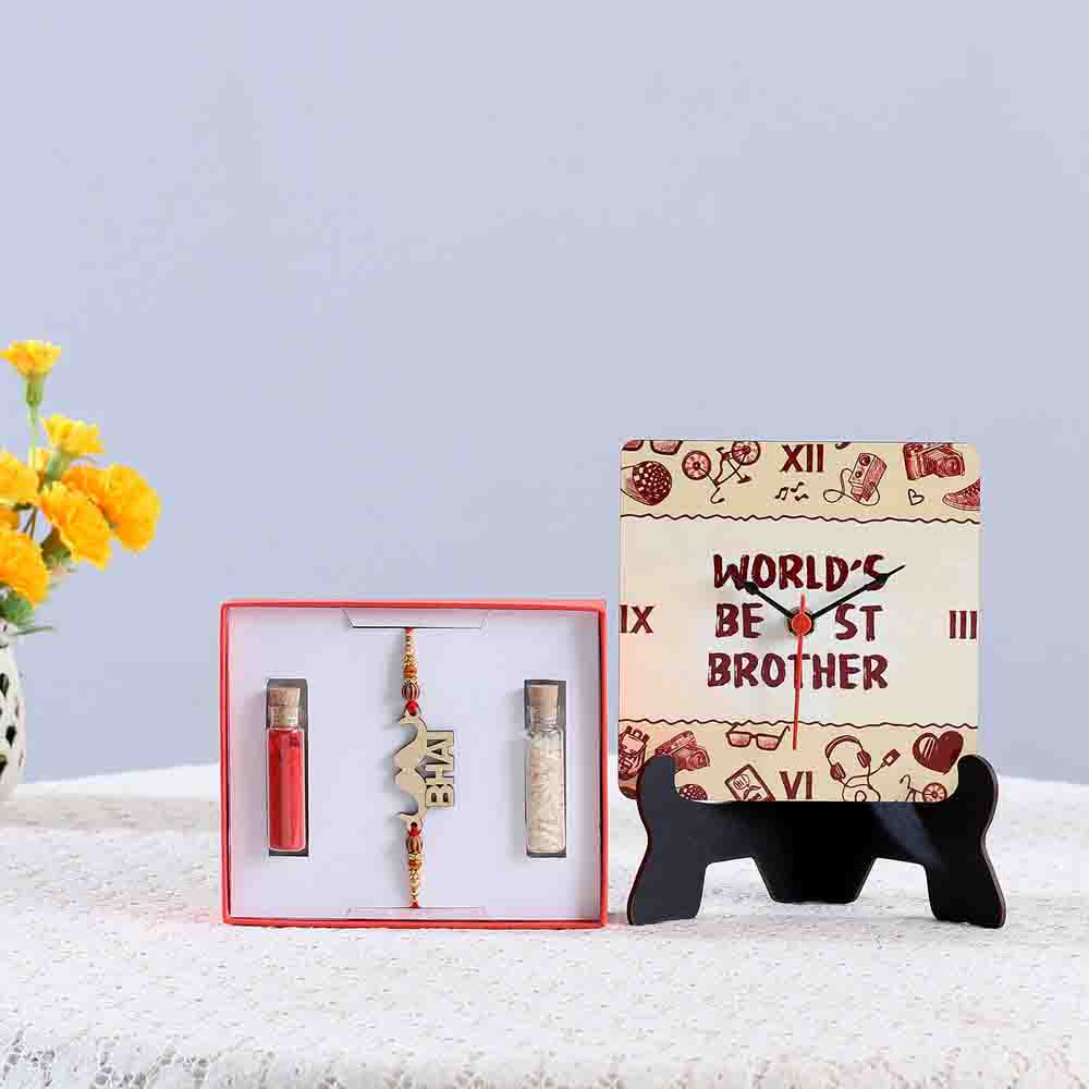 Funky Bhai Rakhi & Table Clock Combo