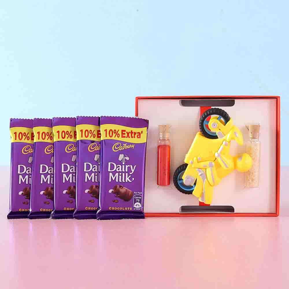 Dairy Milk & Kids Sharpener Rakhi Combo