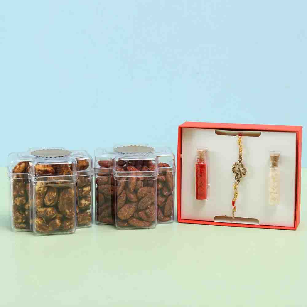 Flavoured Dry Fruits & Spiritual Rakhi Combo