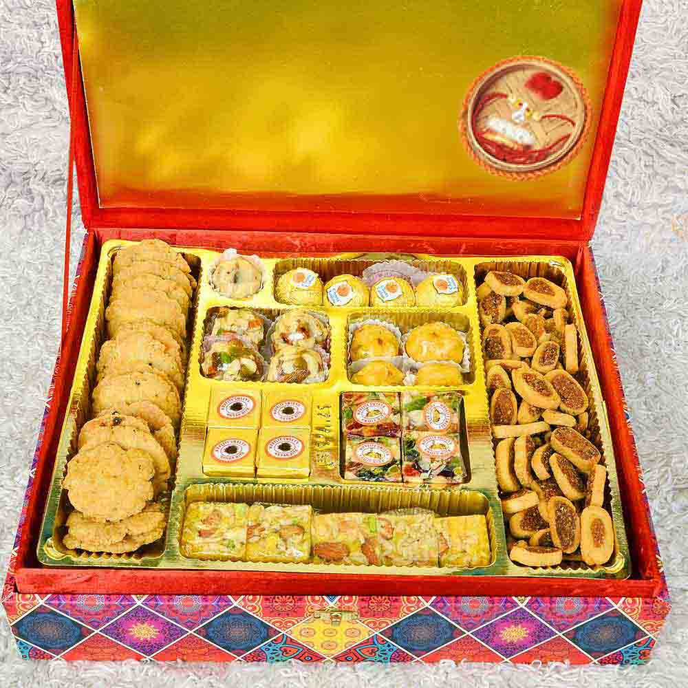 Assorted Mithai Boxes-Premium Wooden Dry Fruit Sweet and Namkeen Mix Gift Box With Rakhi