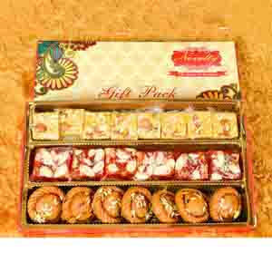 Assorted Mithai Boxes-3in1 Gift Pack With Rakhi