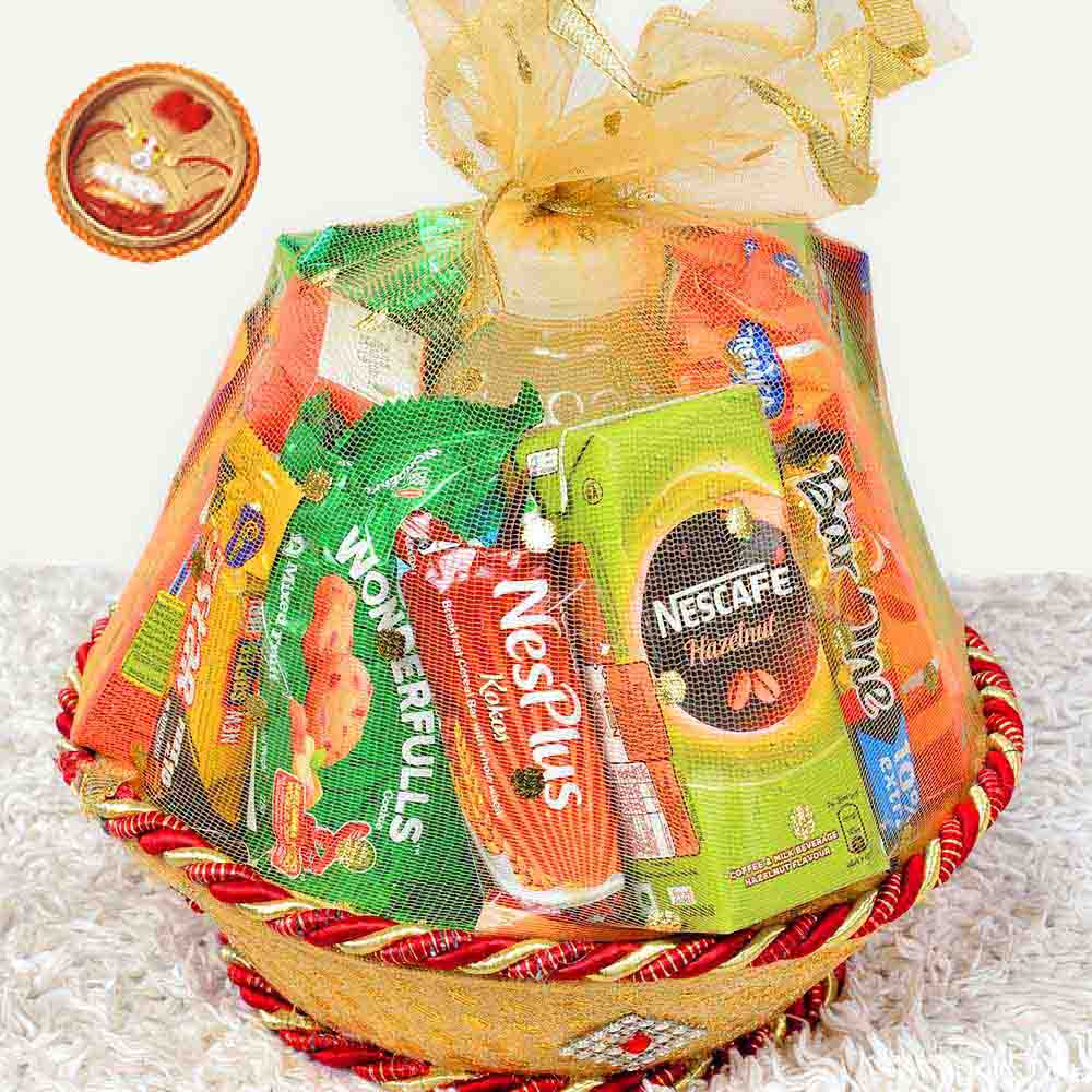 Assorted Mithai Boxes-Confectionery Gift Basket With Rakhi