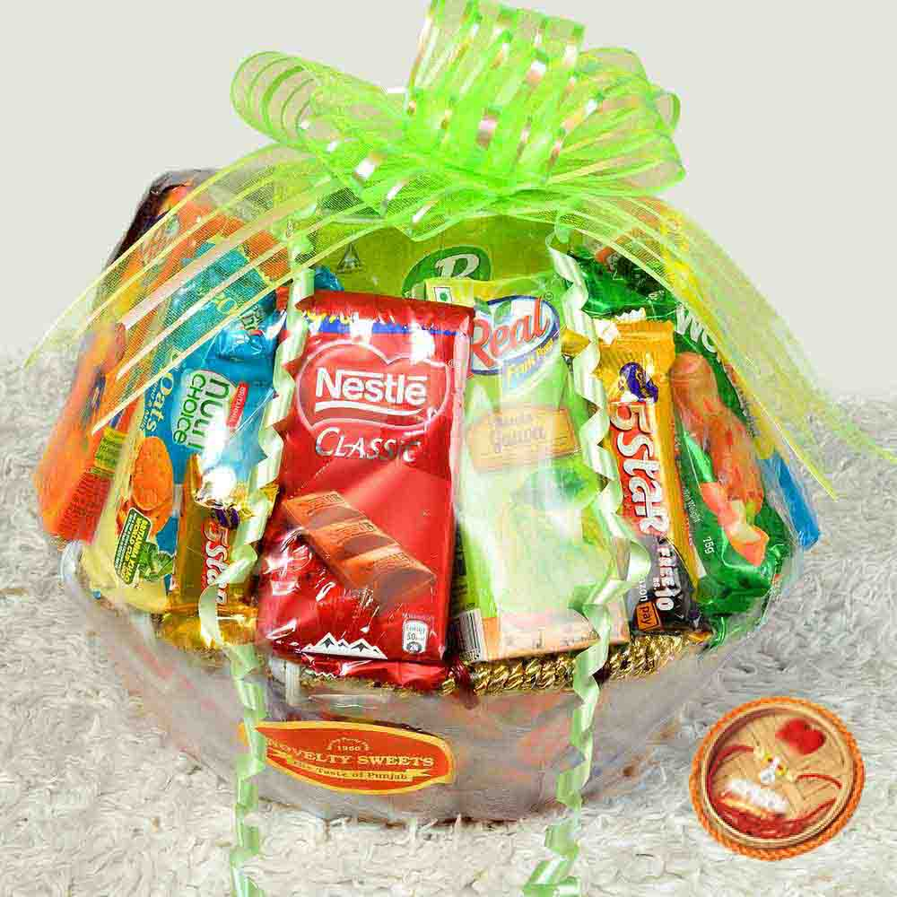 Exclusive Confectionery Gift Basket With Rakhi