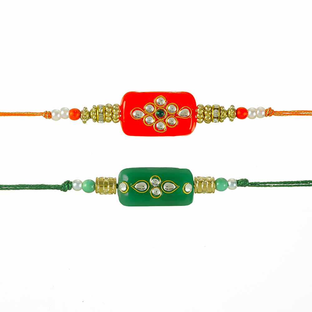 Royal Rakhi Collection-Kundan Rakhi Set of 2