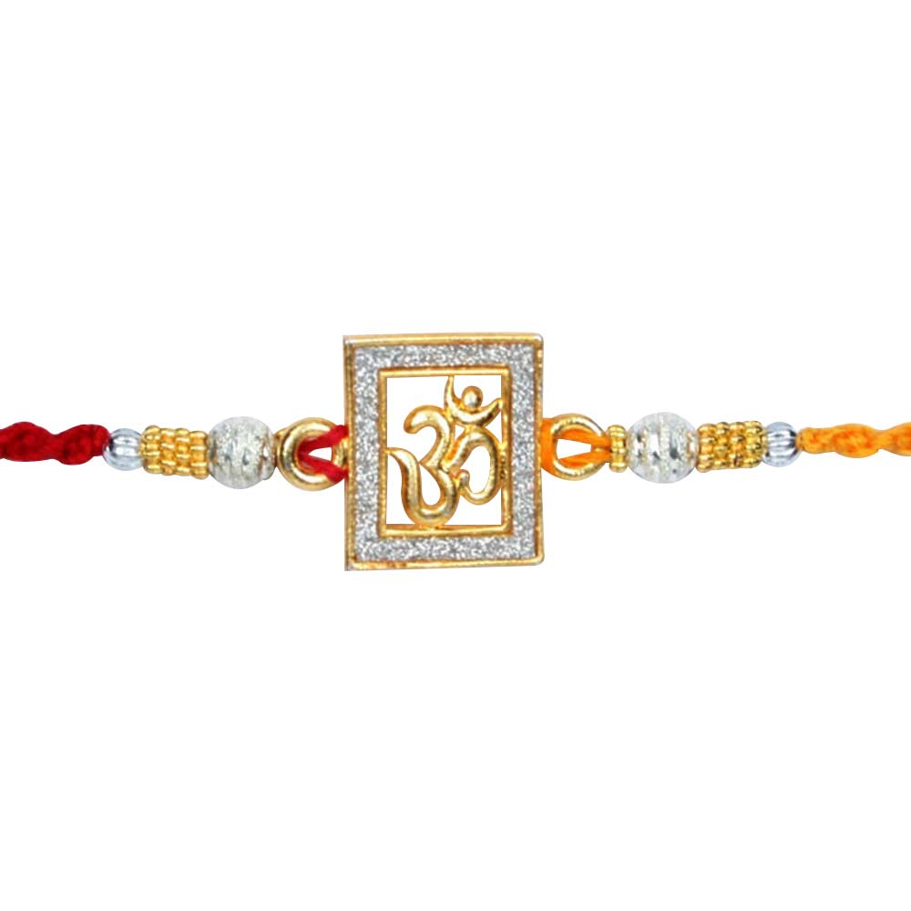 Royal Rakhi Collection-Om Diamond Rakhi set of 2