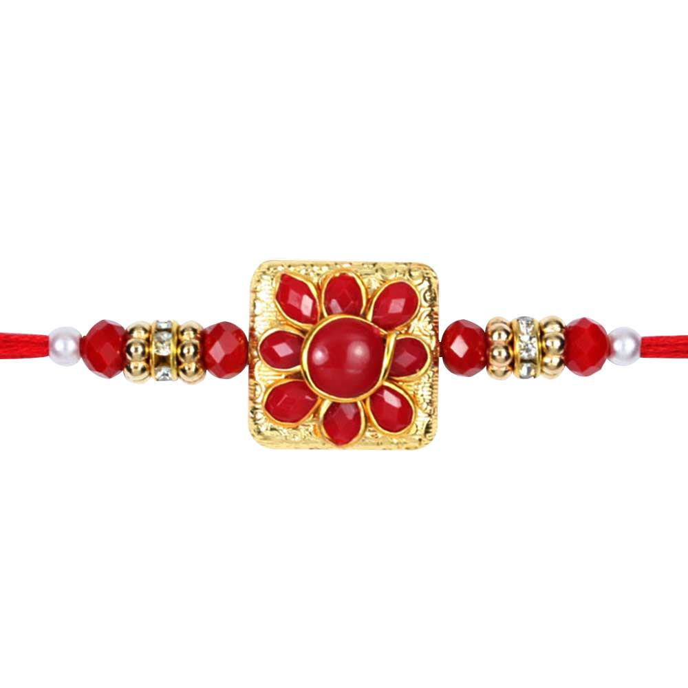 Red Kundan Rakhi Single