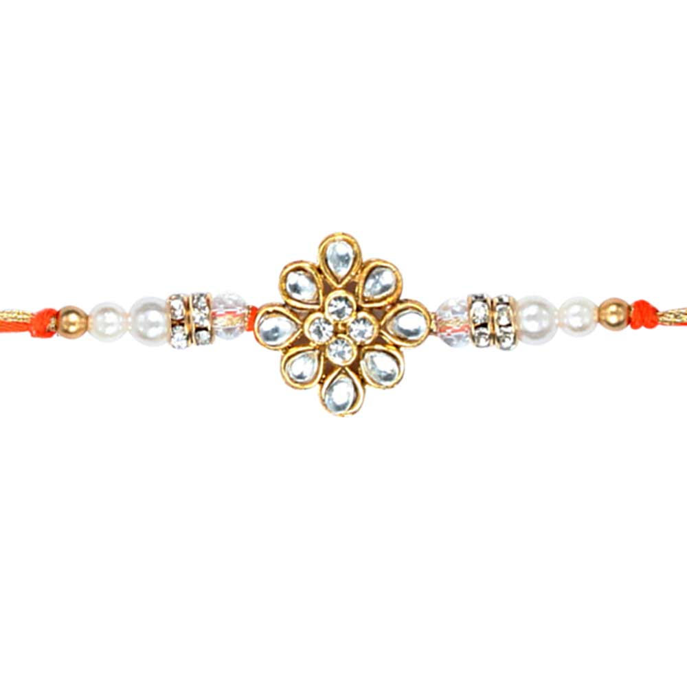Royal Rakhi Collection-White stone Kundan Rakhi