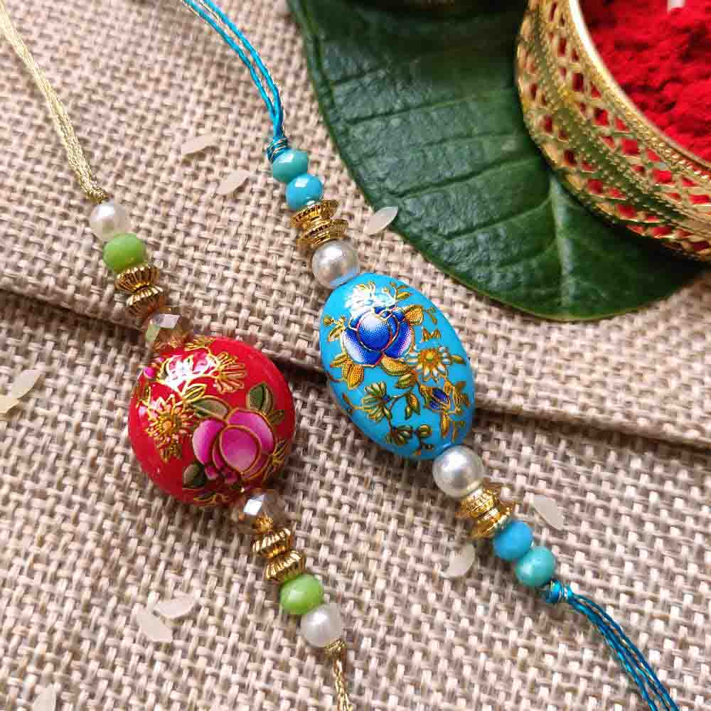 Hand painted Rakhi Set of 2