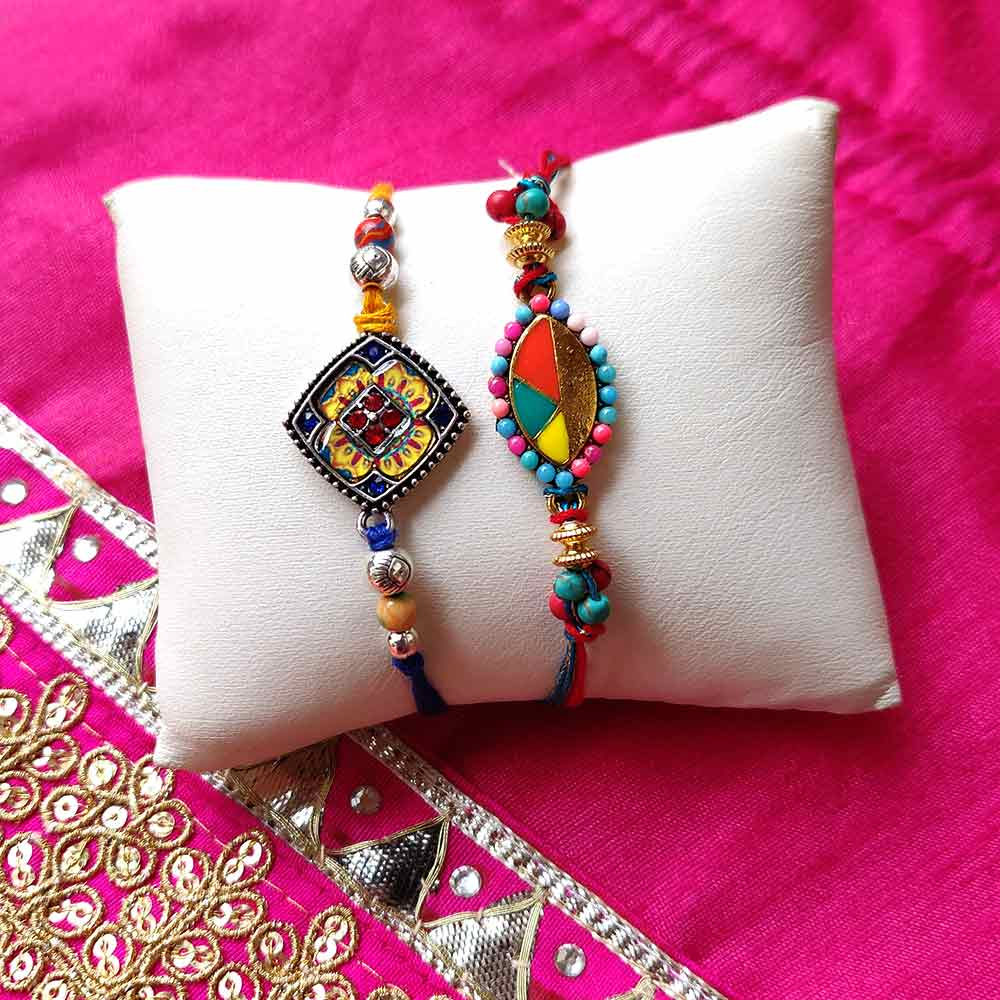 Multi Colored Bead Rakhi Set of 2