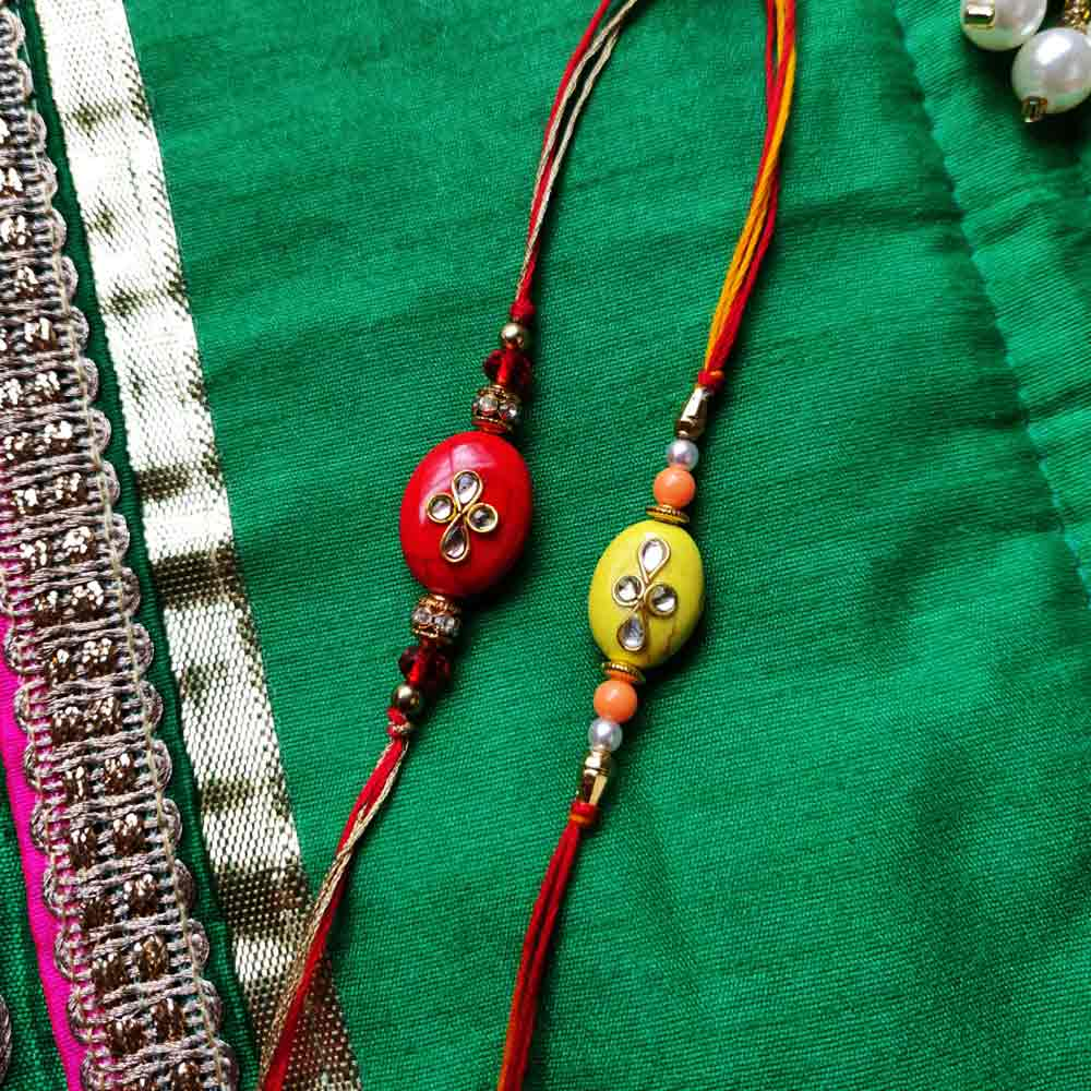 Kundan Rakhi Set of 2