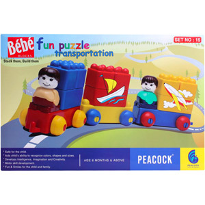 Educational-Peacock Bebe Blocks - Fun Puzzle Transportation