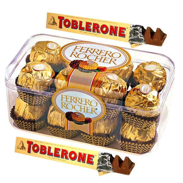 Ferrero Rocher and Toblerone with Teddy