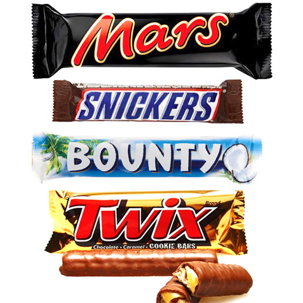 Mars, Snickers, Bounty & Twix Chocolates