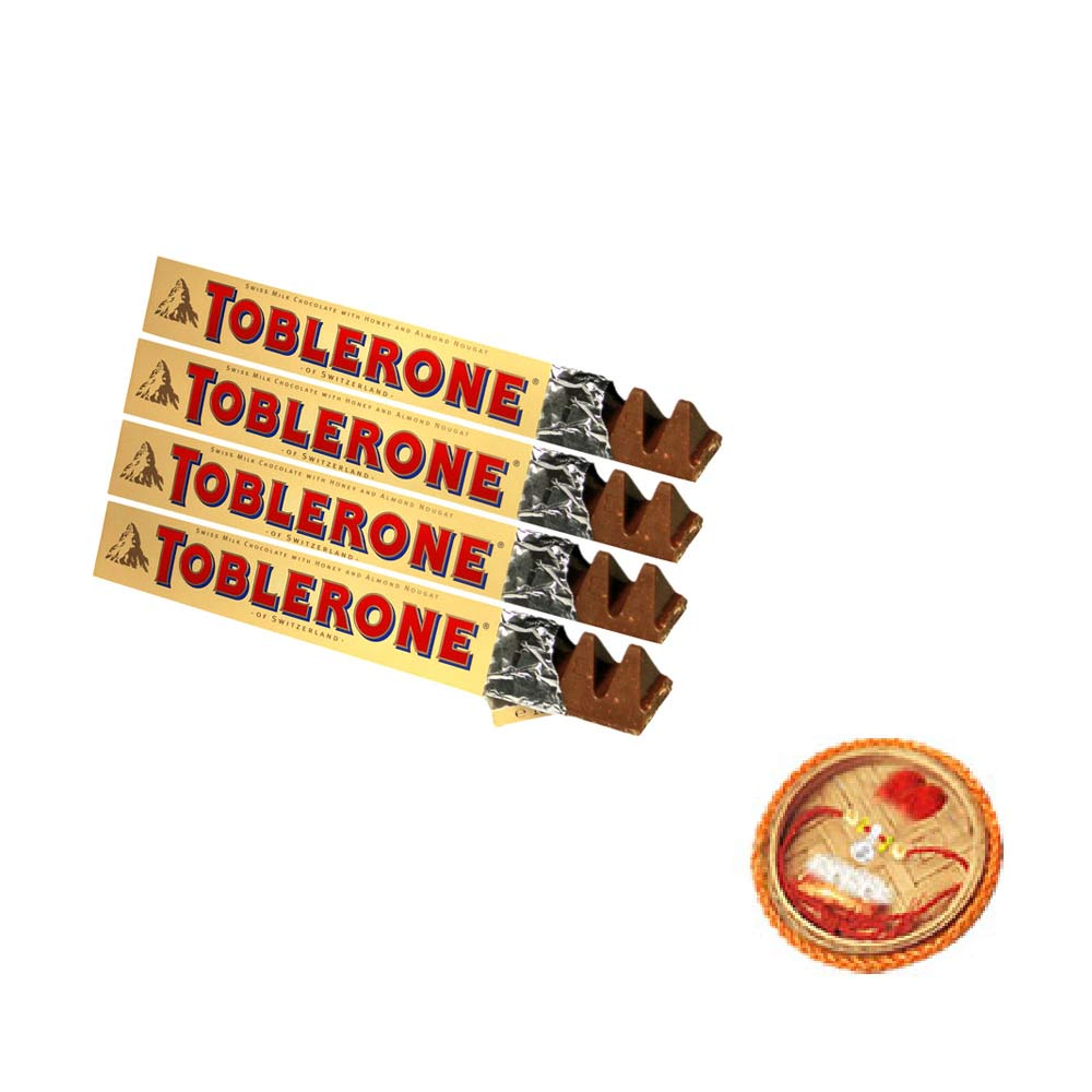 Toblerone Chocolates - 4 Bars With Free Rakhi