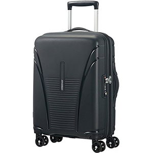 Trolleys & Strollers-American Tourister Skytracer Polycarbonate 65 Black Spinner Suitcase