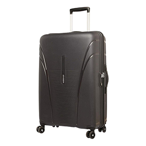 Trolleys & Strollers-American Tourister Skytracer Polycarbonate 75 Black Spinner Suitcase