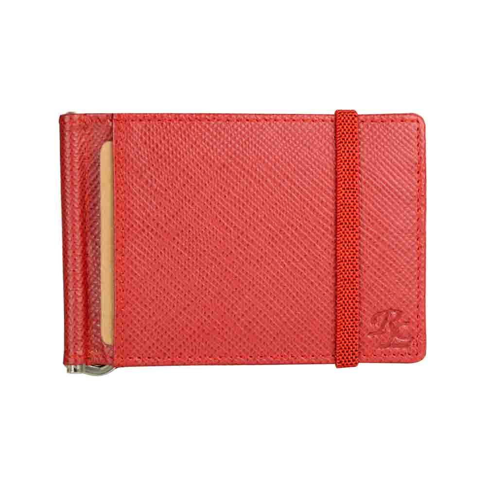 Red Iris elastic Leather money clip wallet