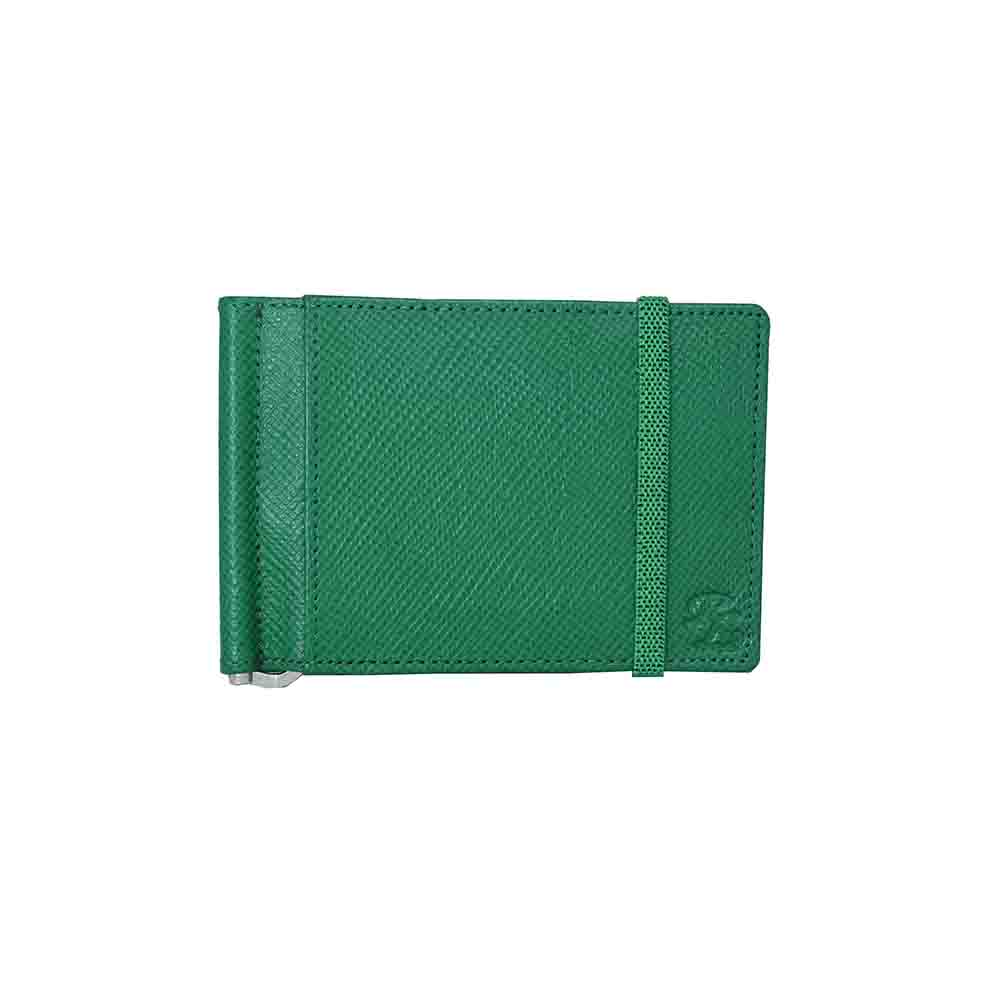 Green Iris elastic Leather money clip wallet