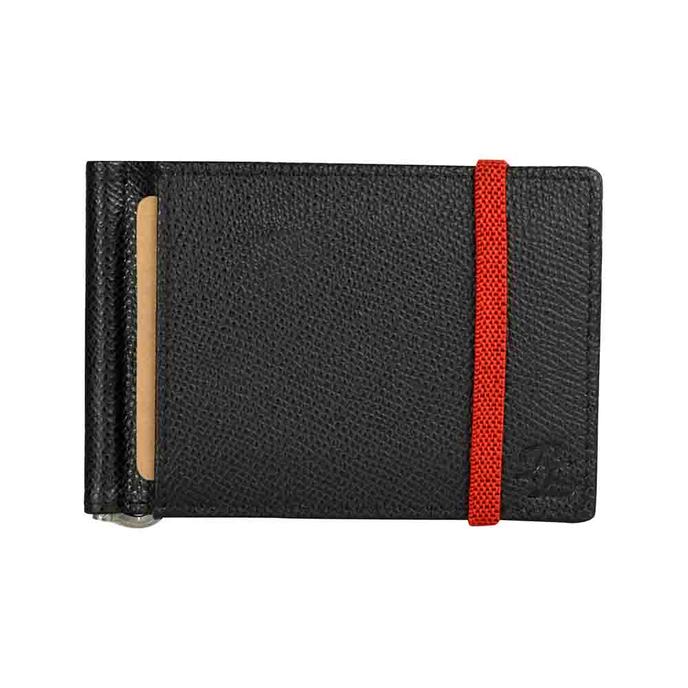 Black & Red Iris elastic Leather money clip wallet