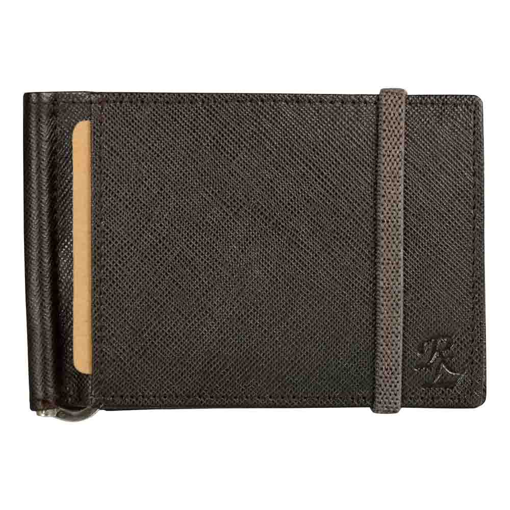 Brown Iris elastic Leather money clip wallet