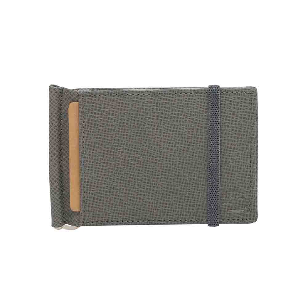 Grey Iris elastic Leather money clip wallet