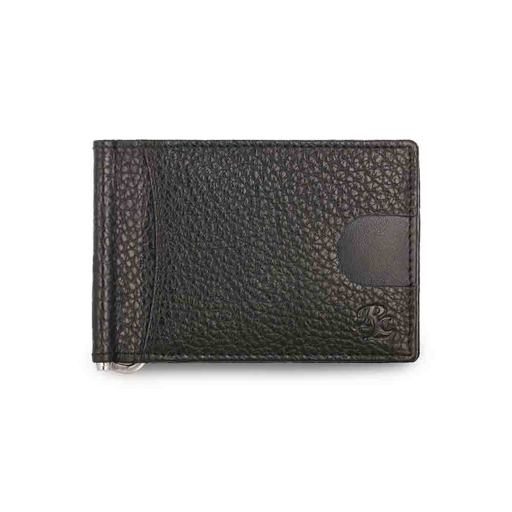 Black Magnetic RFID leather Money Clip Mens Wallet