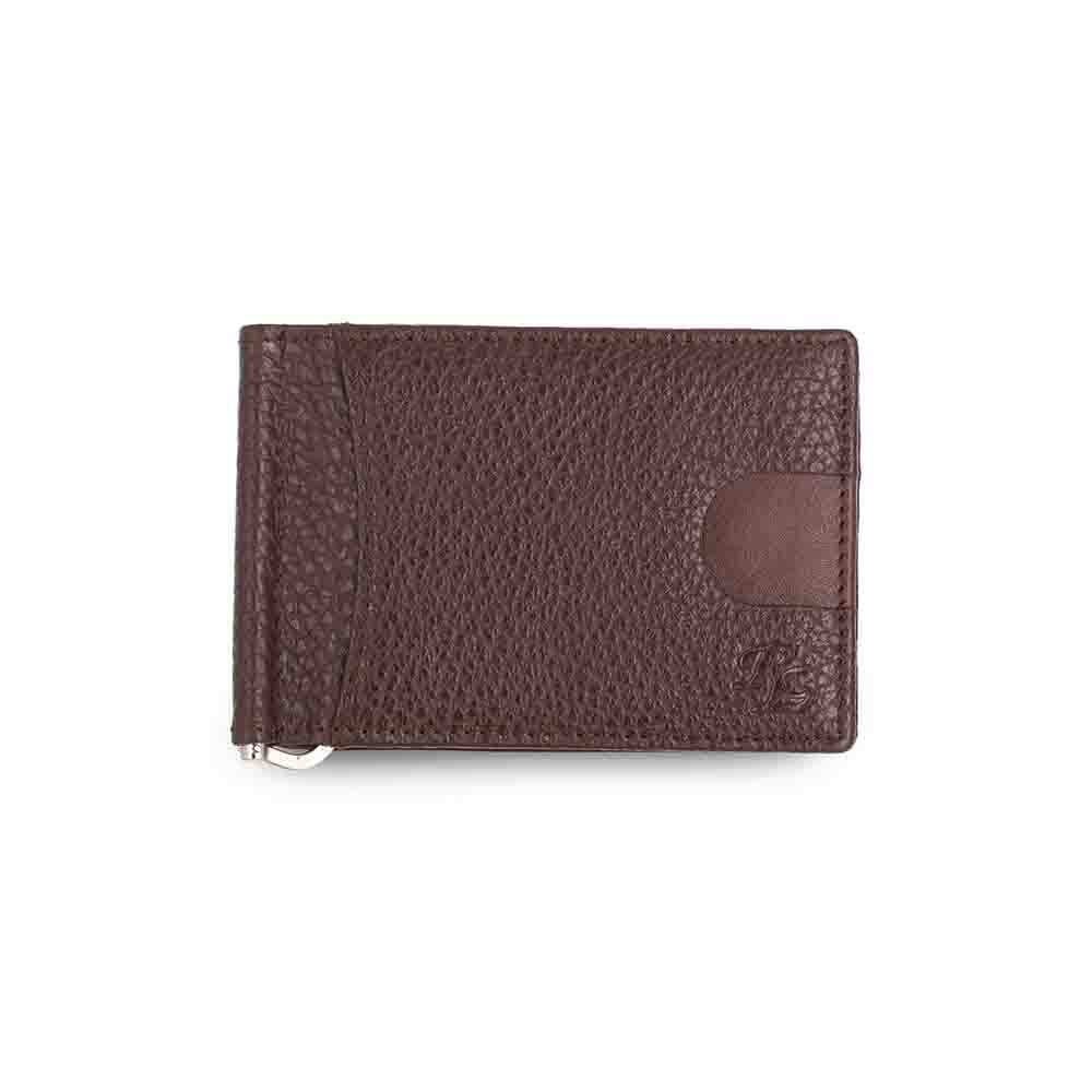Brown Magnetic RFID leather Money Clip Mens Wallet