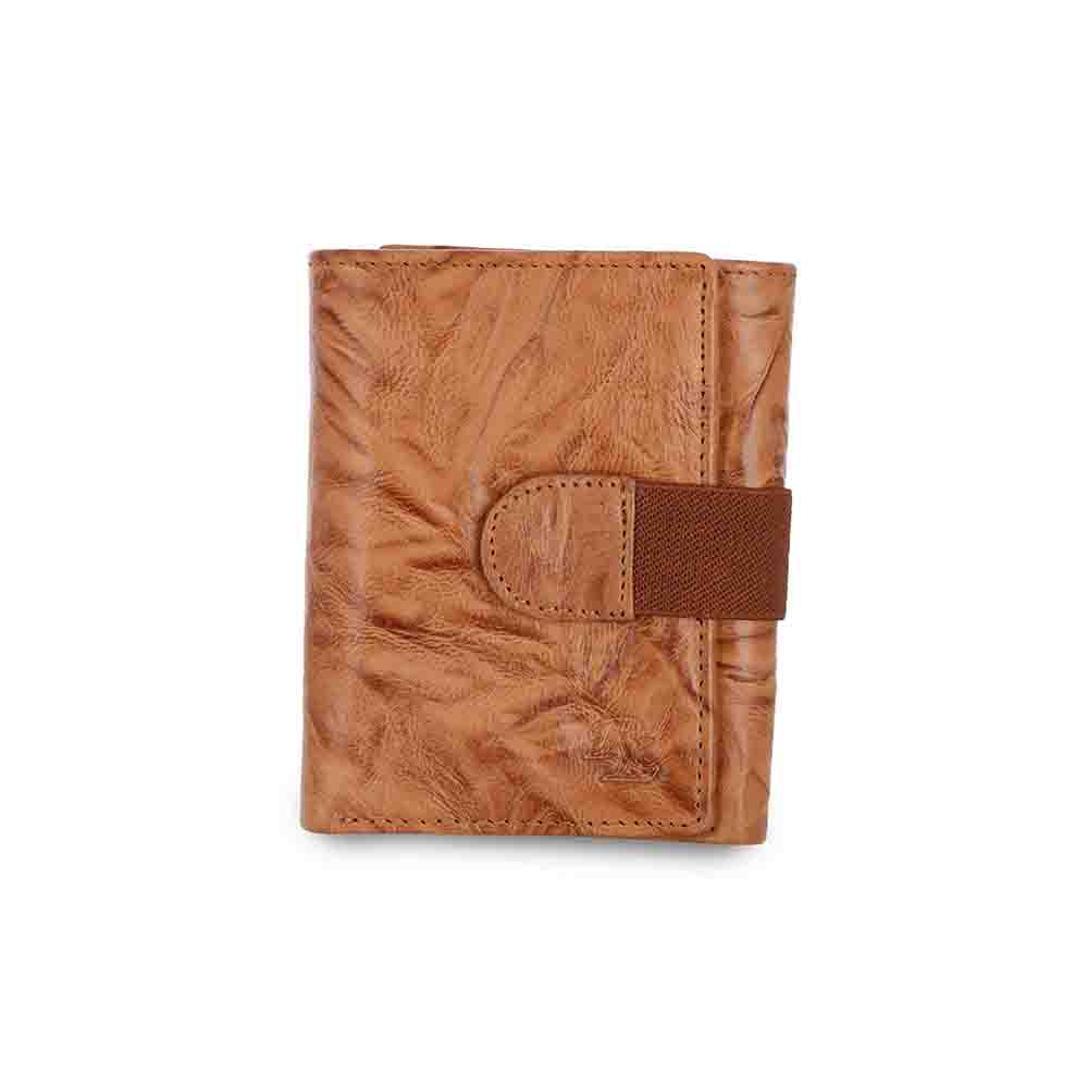 Crunch three fold leather loop wallet