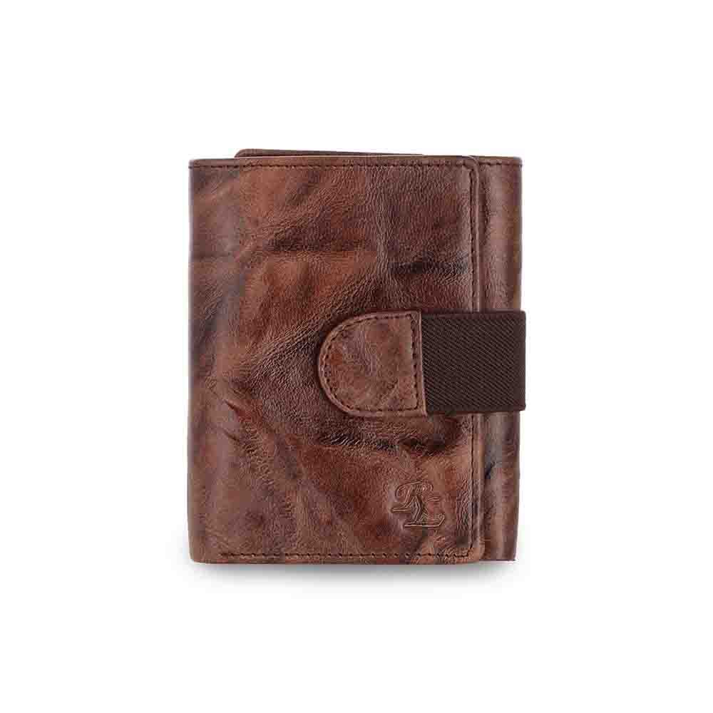 Brown Crunch three fold leather loop wallet
